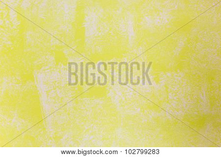 Yellow Wall Painted With Textured Paint Roller