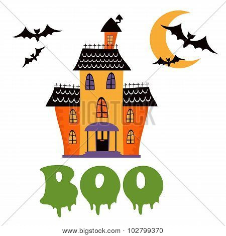 Boo card with haunted house