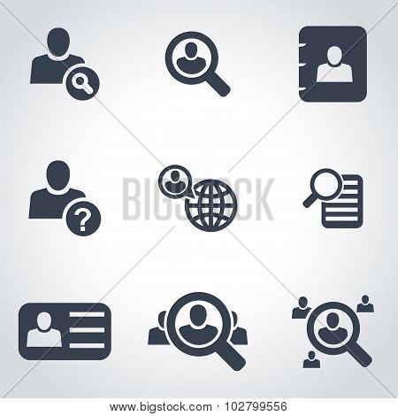 Vector Black People Search Icon Set