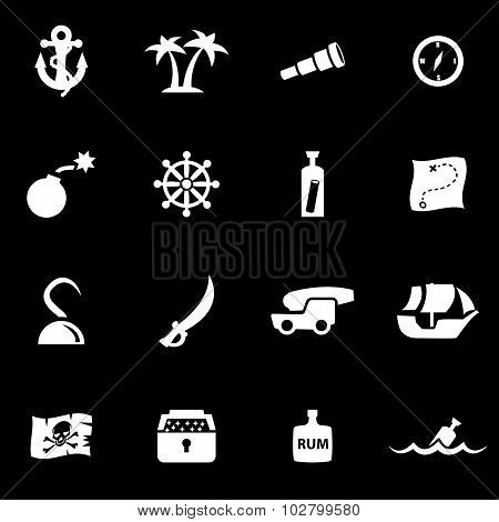 Vector White Pirate Chart Icon Set