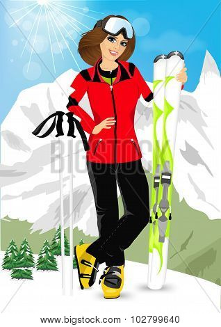 Pretty Woman Standing With Mountain Skis