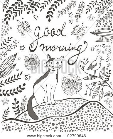 Good morning card with cute hand drawn cat sitting on a lawn