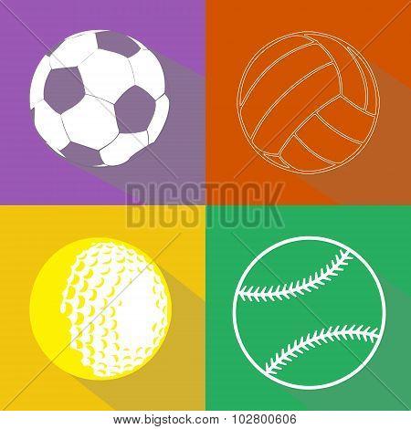Sport Balls Vector Silhouettes