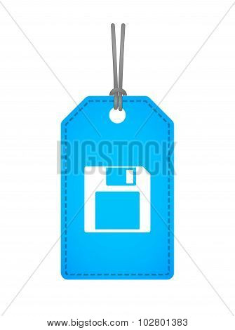 Isolated Label Icon With A Floppy Disk