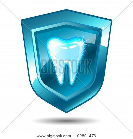 Tooth On A Blue Shield.