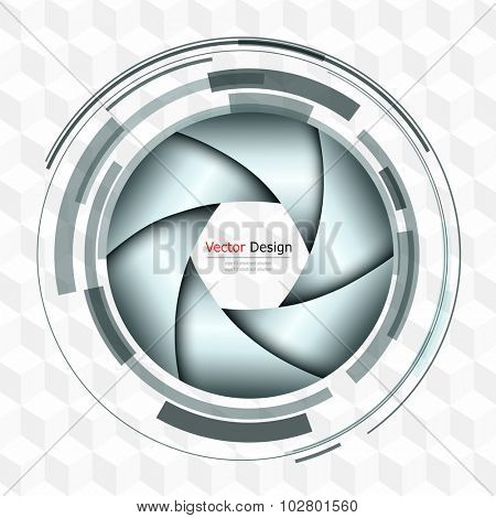 Background 3D with abstract lens design and vector shutter.