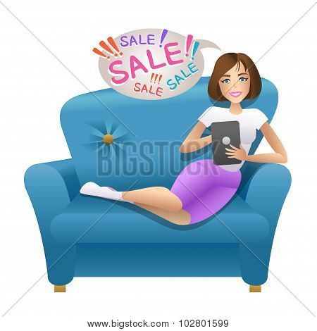 Woman Sitting With Tablet On The Sofa. Vector Illustration.