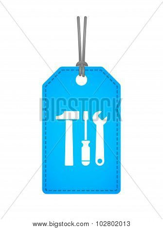 Isolated Label Icon With A Tool Set
