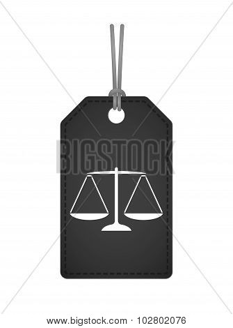 Isolated Label Icon With A Justice Weight Scale Sign