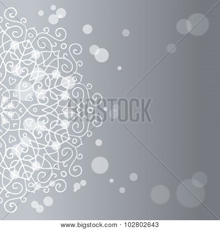 Abstract Silver Background With Mandala Ornament