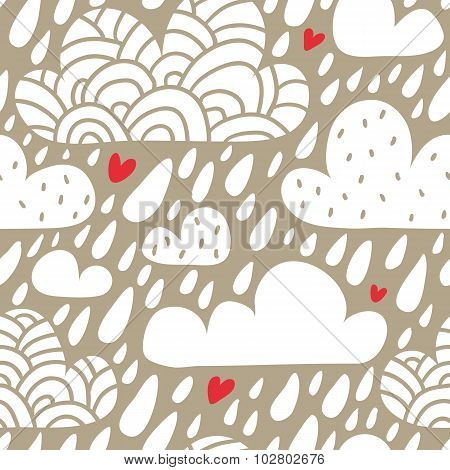 Seamless Pattern With Clouds And Falling Raindrops And Hearts