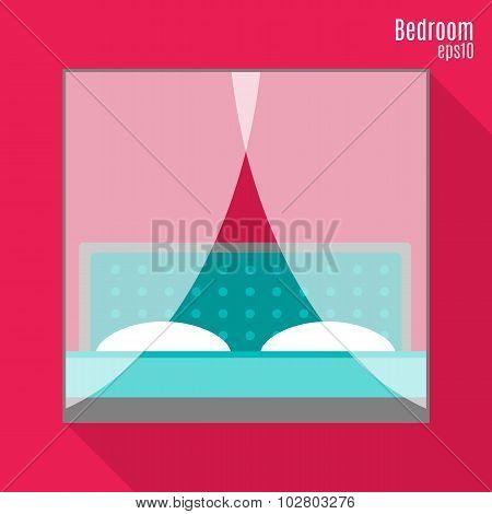 Bedroom In Flat Style