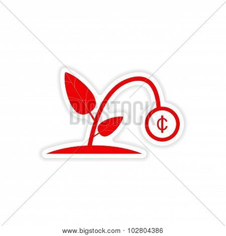 stylish sticker on paper Money plant on white background