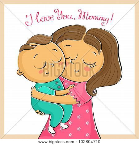 Mother's Day Greeting Card With Mother And Child, Isolated On White