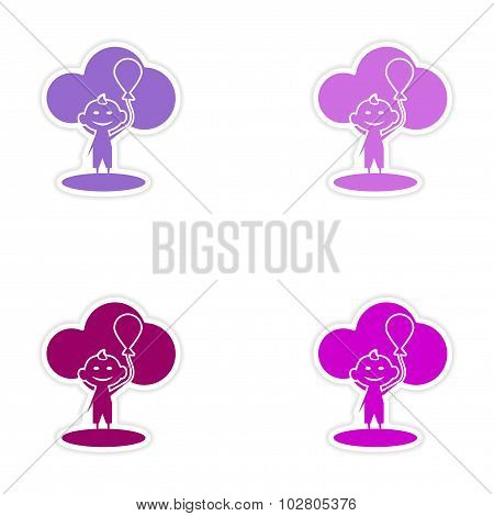 assembly realistic sticker design on paper child balloon