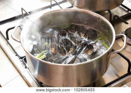 Boiling mussels in wine in a pot