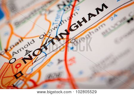 Nottingham City On A Road Map