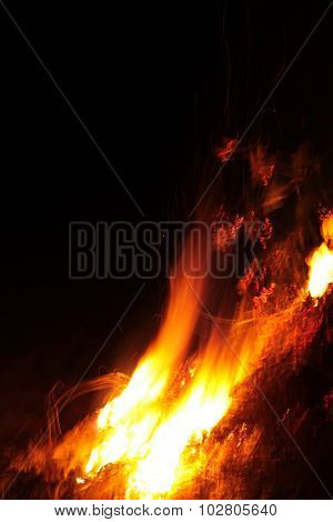 Blurred Fire On A Black Background