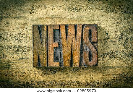 Antique Letterpress Wood Type Printing Blocks - News