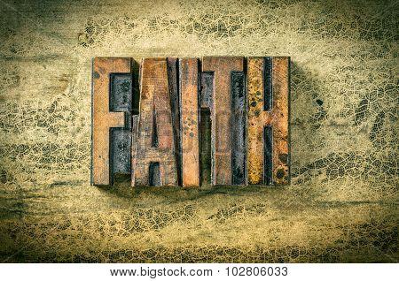 Antique Letterpress Wood Type Printing Blocks - Faith