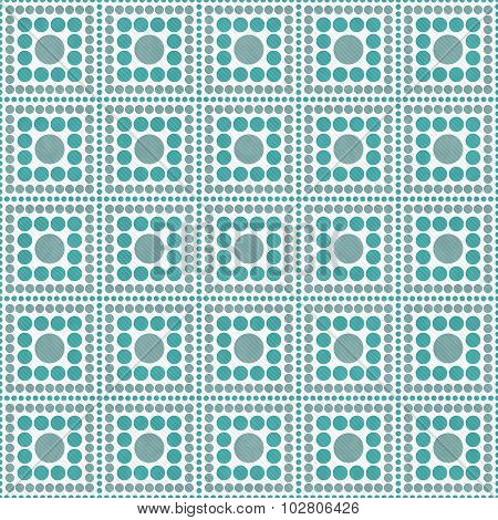 Teal, Gray And White Polka Dot Square Abstract Design Tile Pattern Repeat Background