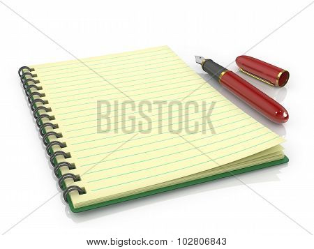 Fountain Pen With Notebook On A White Background.