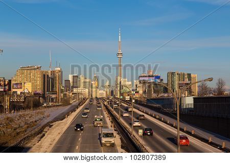 Traffic On A Road Leading To Toronto Downtown At Rushhour