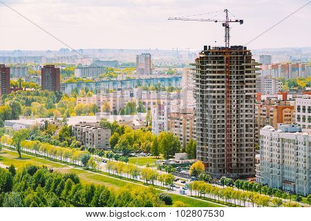 Construction of houses in residential area in Minsk, Belarus