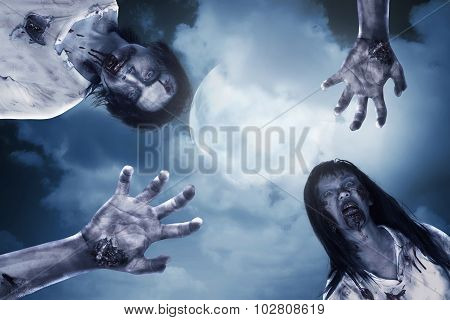 Two Scary Zombie With Full Moon Background