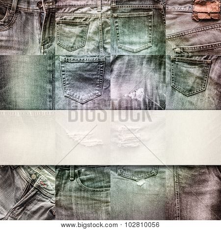 Collage Set Of Jeans Background With Blank For Text