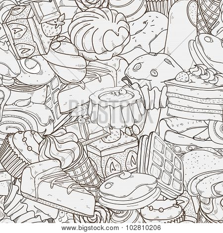 Vector Seamless Hand Drawn Pattern With  Cakes And Different Sweets
