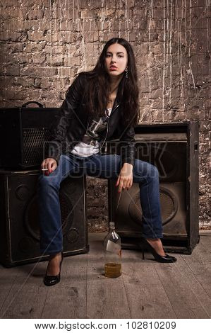 Rock Babe In Leather Jacket With Cigarette