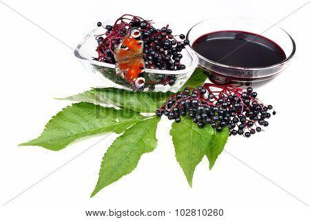 Fruit Juice Elderberry And Butterfly