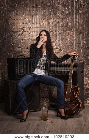 Rock Babe With Electric Guitar