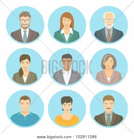 Business People Vector Flat Avatars Male And Female