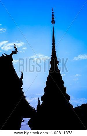 Silhouette Of Pagoda At Temple Phra That Lampang Luang, Lampang, Thailand