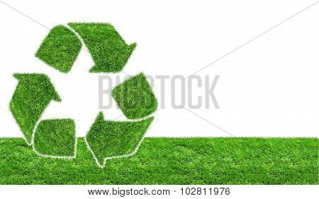 Green Grass Recycling Sign Isolated