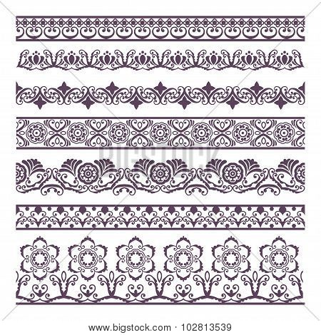 Border Floral  Silhouettes Illustration Set For Banners And Ethnic Decoration.