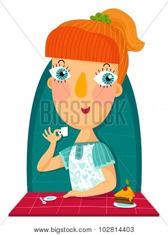 Redhair Girl With Cup And Sweet Cake
