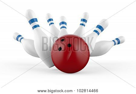 Scattered Skittle And Bowling Ball Isolated