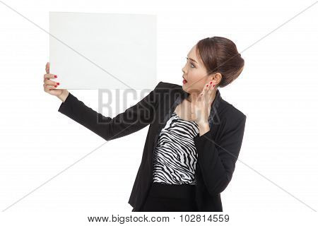 Young Asian Business Woman  Surprise With  White Blank Sign