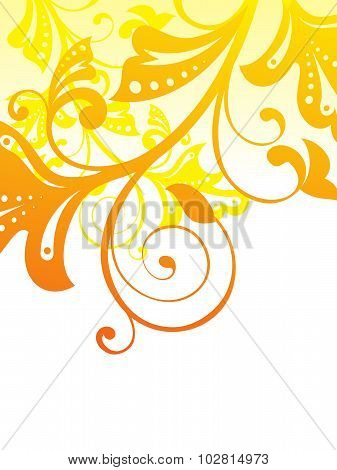 Abstract Orange Based Floral Vector Illustration
