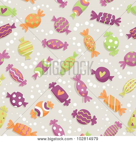 Seamless Pattern With Colorful Sweets