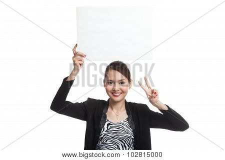 Young Asian Business Woman Show Victory Sign With Blank Sign