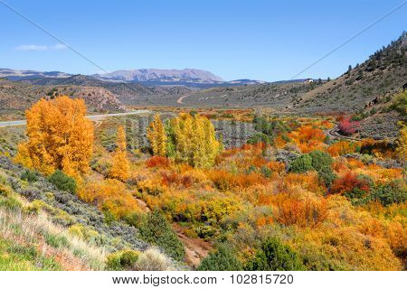 Scenic autumn landscape in rocky mountains