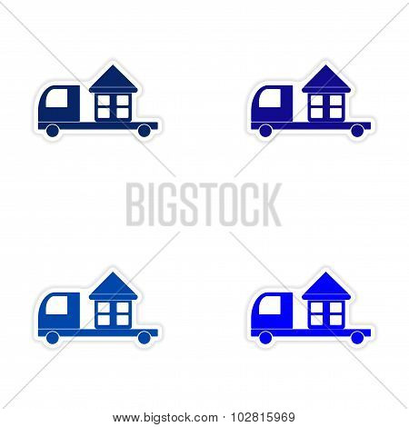 assembly realistic sticker design on paper truck home delivery