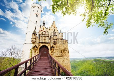 Gates and bridge of the Schloss Lichtenstein