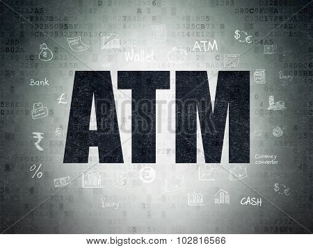 Currency concept: ATM on Digital Paper background