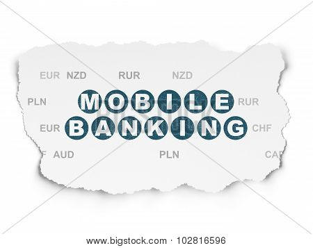 Banking concept: Mobile Banking on Torn Paper background