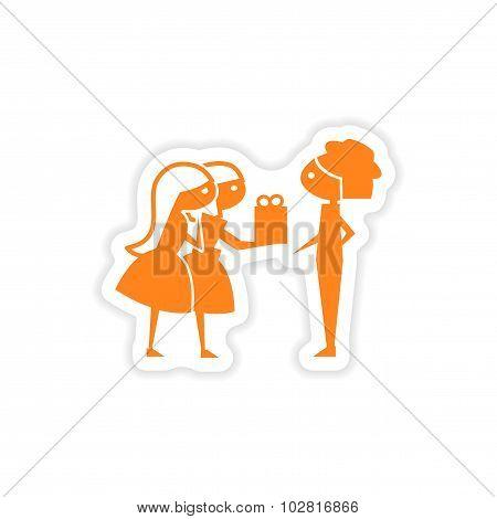 icon sticker realistic design on paper Friend gift